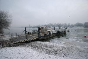 Fähre Neckarhausen im Eis